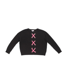 DESIGN HISTORY Big Girls Lace Up Front Sweater