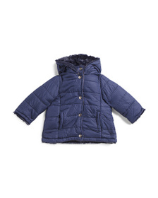 DKNY Infant Girls Puffer Jacket With Faux Fur