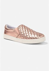 Rose Gold Quilted Slip On Sneaker