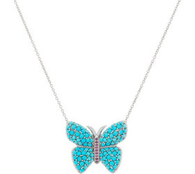 Sterling Silver Sleeping Beauty Turquoise Butterfl
