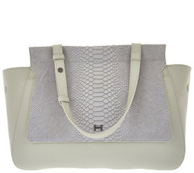 """""""As Is"""" H by Halston Smooth Leather Satchel with S"""