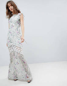 Hope & Ivy Printed Crochet Insert Maxi Dress With