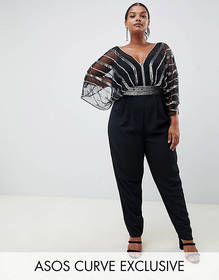 ASOS DESIGN Curve embellished jumpsuit with kimono