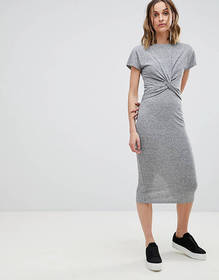 AllSaints Striped Midi Dress with Knot Front