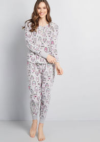 Owling With Laughter Pajamas Grey
