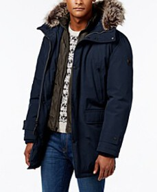 Michael Kors Men's Hooded Bib Snorkel Parka, Creat
