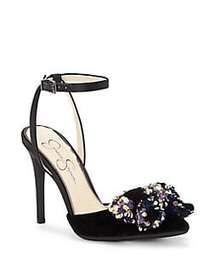 Jessica Simpson Pearlanna Sequin-Bow Ankle-Strap P
