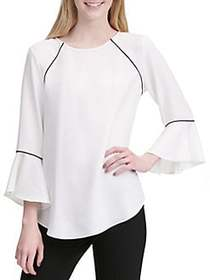 Calvin Klein Ruffled Bell-Sleeve Top SOFT WHITE