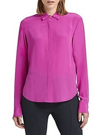 Donna Karan Long-Sleeve Silk Button-Down Shirt MAG