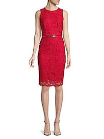 Phase Eight Lace Belted Midi Dress CARMINE
