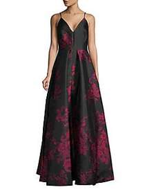 Calvin Klein Floral Ball Gown FIRE