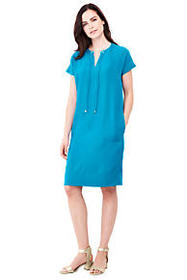 Women's Short Sleeve Woven Slit Neck Tee Dress