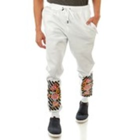 KRISP Mens Fleece Joggers with Floral Embroidery