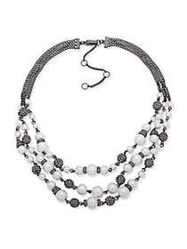 Givenchy Hematite and Faux Pearl Row Collar Neckla