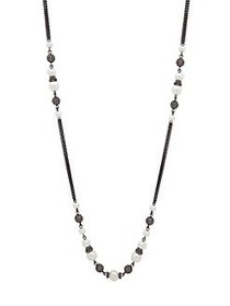 Givenchy Hematite and Faux Pearl Strandage Necklac