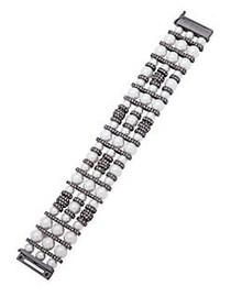 Givenchy White Pearl 6-8mm and Hematite Drama Flex