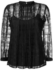 Just Cavalli checked pattern sheer top
