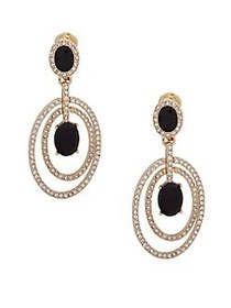 Anne Klein Orbital Crystal Drop Earrings BLACK