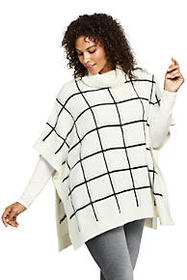 Women's Plus Size Airspun Cowl Neck Sweater Poncho