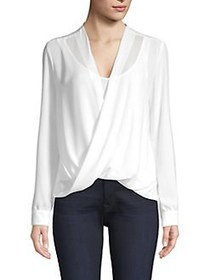 Bailey 44 Draped Georgette V-Neck Top CHALK