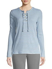 MICHAEL Michael Kors Striped Lace-Up Top CHAMBRAY