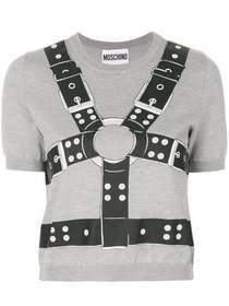Moschino harness print cropped sweater