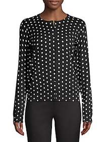 Lord & Taylor Printed Cotton Cardigan BLACK