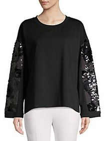 DKNY Sequin Flare Sleeve Pullover BLACK