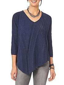 Democracy Cable-Knit Asymmetrical Sweater DEEP BLU