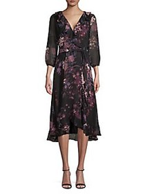 Gabby Skye Ruffled Floral Wrap Dress BLACK ROSE