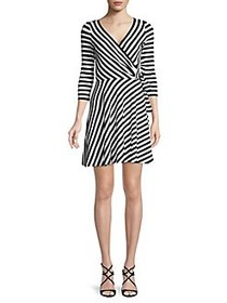 Bailey 44 Ribbed Faux-Wrap Striped Dress MIDNIGHT