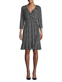 Tommy Hilfiger Polka Dot Ruffled Wrap Dress BLACK