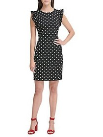 Tommy Hilfiger Flutter Sleeve Polka-Dot Sheath Dre