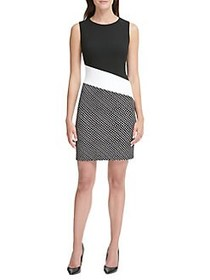 Tommy Hilfiger Colorblock Dotted Sheath Dress BLAC