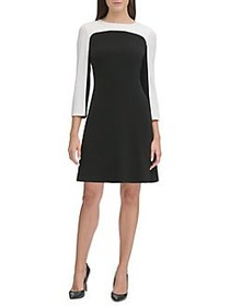 Tommy Hilfiger Long Sleeve Colorblock A-Line Dress