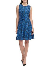 Tommy Hilfiger Prairie Lace Fit-&-Flare Dress BLUE