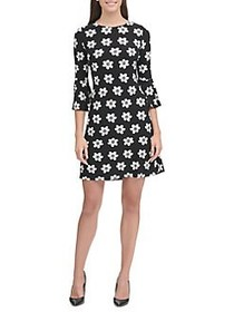 Tommy Hilfiger Floral Bell Sleeve A-Line Dress BLA