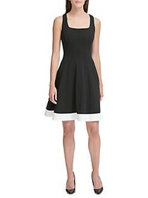 Tommy Hilfiger Scuba Fit-&-Flare Dress BLACK
