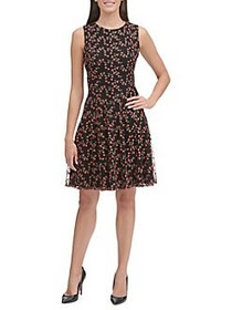 Tommy Hilfiger Embroidered Fit-&-Flare Dress BLACK