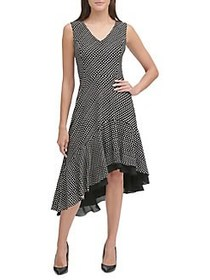 Tommy Hilfiger Polka-Dot Asymmetric Dress BLACK IV