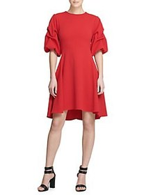 Donna Karan Ruched-Sleeve Fit-&-Flare Dress CHERRY