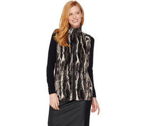 """As Is"" Susan Graver Faux Fur Zip Front Vest - A29"