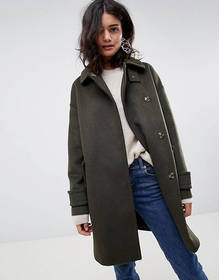 ASOS DESIGN coat in twill with buckle neck