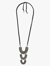 Pave Leather Arch Pendant