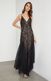Embroidered Scrolling Lace Gown