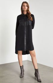 Faux Leather-Trimmed Shirt Dress