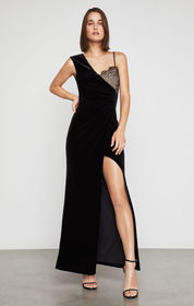 Lace-Trimmed Velvet Gown