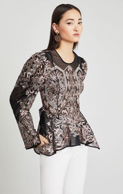 Embroidered Asymmetrical Peplum Blouse