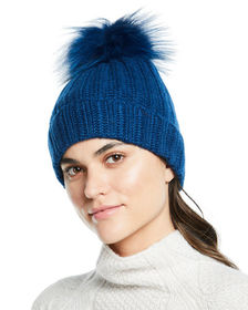 Neiman Marcus Cashmere Ladder-Stitch Fox Fur Beani