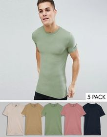 ASOS DESIGN longline muscle fit t-shirt with crew